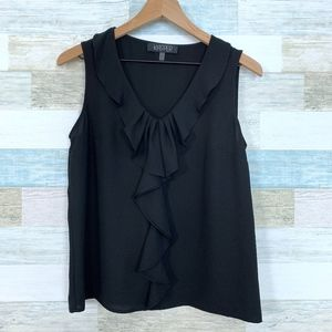 Kasper Ruffle Shell Blouse Black